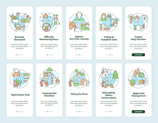 Sintomas de tdah em adultos que integram o conjunto de telas de páginas de aplicativos para dispositivos móveis