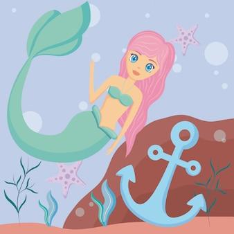 Sirene bonito com âncora e estrela do mar
