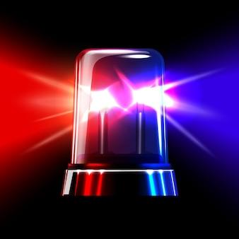 Sirene de emergência intermitente vermelha e azul.