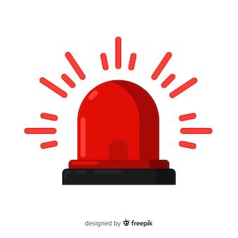 Sirene vermelha intermitente Vetor Premium