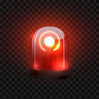 Sirene vermelha realista. pisca a iluminação como a atenção da lâmpada de segurança. pisca-pisca policial de emergência vetorial em fundo preto transparente