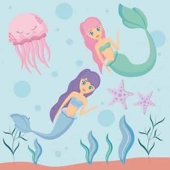Sirenes bonitos com polvo e estrela do mar
