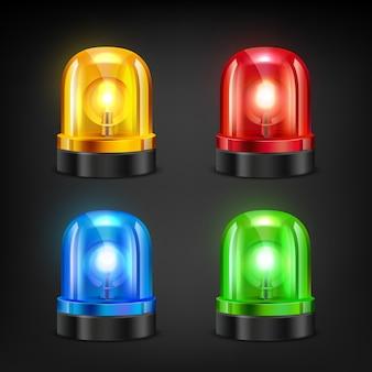Sirenes coloridas. várias cores da polícia ou sirene de incêndio