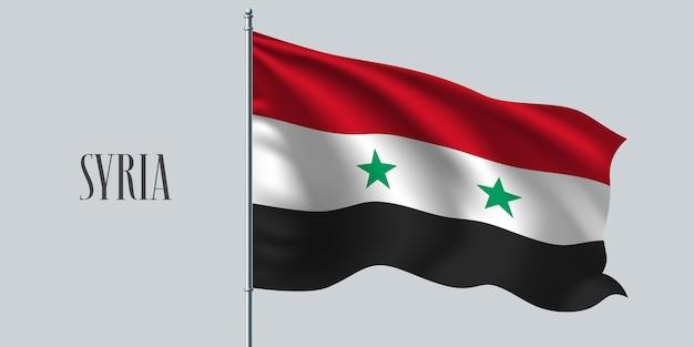 Síria acenando uma bandeira no mastro da bandeira.