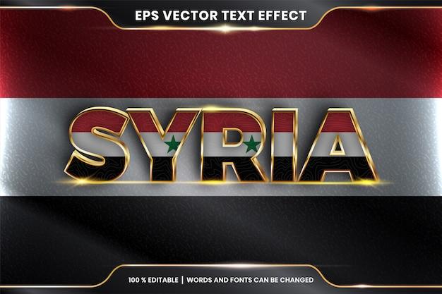 Síria com sua bandeira do país nacional, efeito de texto editável com estilo de cor ouro