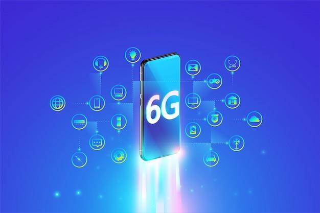 Sistema 6g de conexão mais rápida à internet com smartphone