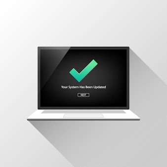 Sistema atualizado no conceito de tela do laptop com o símbolo de marca de seleção.