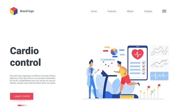 Sistema cardiovascular de treinamento do personagem paciente dos desenhos animados, correndo na esteira no exame médico.