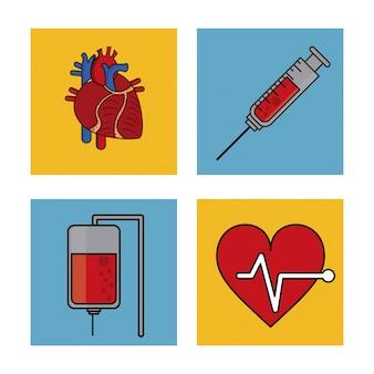 Sistema cardivascular e doação de sangue e ícone de pulso cardíaco