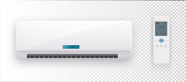 Sistema climático com ilustração vetorial de condicionador de ar condicionado em bac transparente.