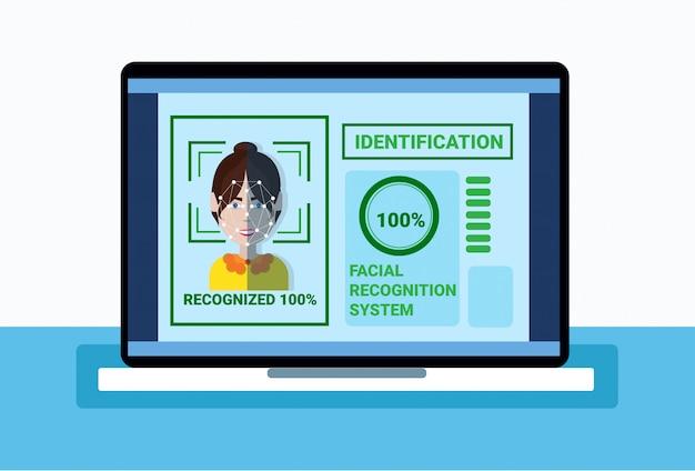 Sistema da biometria de cara da mulher da exploração do portátil da proteção, conceito facial do reconhecimento