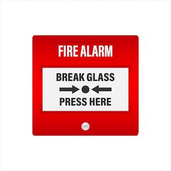 Sistema de alarme de incêndio. equipamento contra incêndio. ilustração conservada em estoque