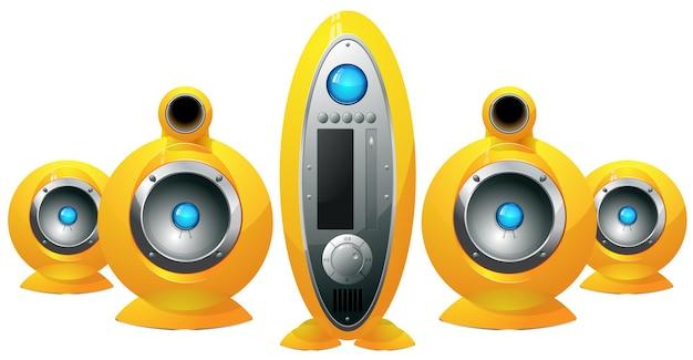 Sistema de alto-falantes amarelos hi-fi