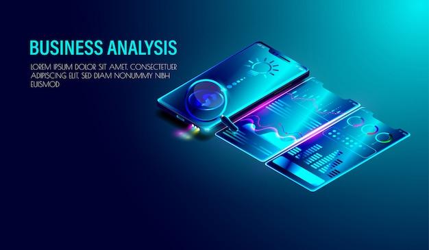Sistema de análise de negócios em smartphone isométrico