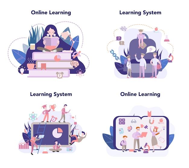 Sistema de aprendizagem, conjunto de educação online, ideia de estudar remotamente. e-learning e conceito de tecnologia moderna. educação online usando o computador.