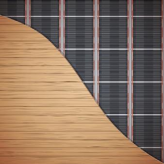Sistema de aquecimento de piso infravermelho sob cobertura de madeira.