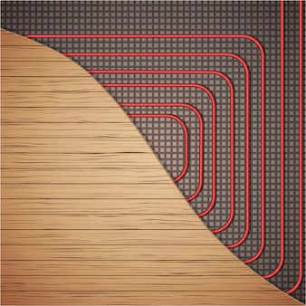 Sistema de aquecimento de piso sob cobertura de madeira.