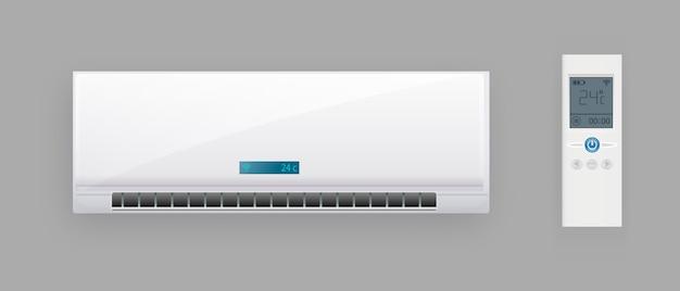 Sistema de ar condicionado com controle remoto. bloco de refrigeração e aquecimento de condicionador. modelo de equipamento de tecnologia eletrônica de clima.