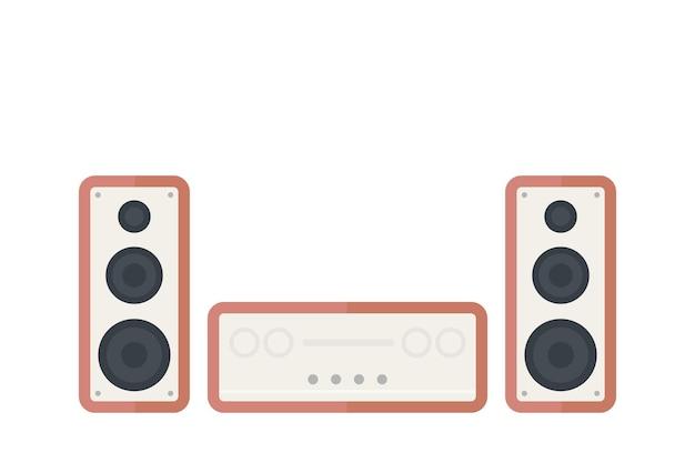 Sistema de áudio em branco, em estilo retro