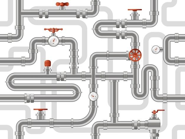 Sistema de canalização de água. padrão de construção de dutos de metal, tubos de indústria com válvulas de contadores, fundo de construção de dutos. construção de esgoto padrão, ilustração de encanamento