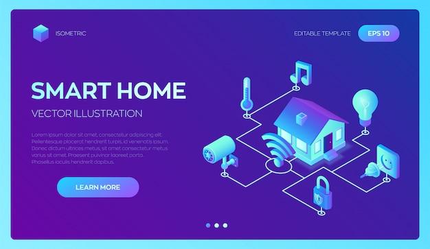 Sistema de casa inteligente. sistema de controle remoto isométrico da casa 3d. iot
