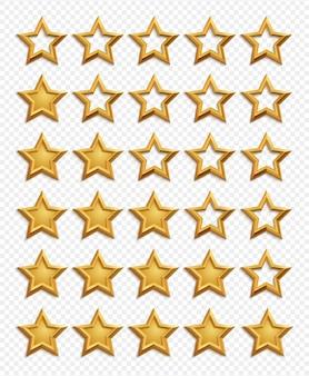 Sistema de classificação de cinco estrelas. vetor de classificação de estrelas douradas isolado em fundo transparente