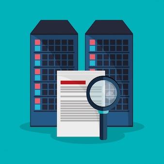 Sistema de desenvolvimento de arquivos de pesquisa do centro de dados Vetor Premium