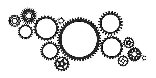 Sistema de engrenagens conectadas às rodas dentadas da máquina do mecanismo do motor tecnologia abstrata