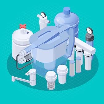 Sistema de filtragem de água moderno com ilustração isométrica da torneira
