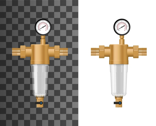 Sistema de filtro de sedimentos de água de toda a casa. filtro de retrolavagem com caixa e roscas de cobre ou latão