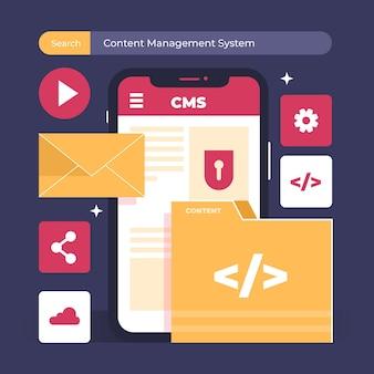 Sistema de gerenciamento de conteúdo de design plano ilustrado