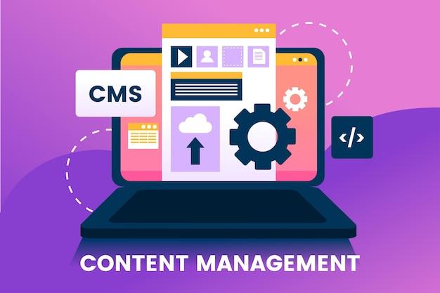 Sistema de gerenciamento de conteúdo de design plano