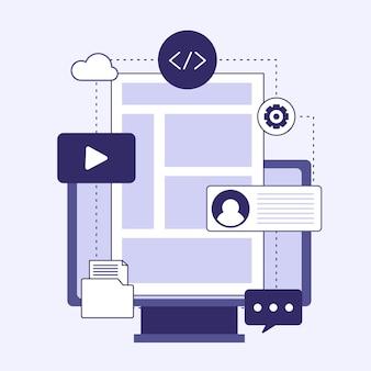 Sistema de gerenciamento de conteúdo ilustrado