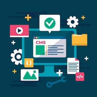 Sistema de gerenciamento de conteúdo plano ilustrado
