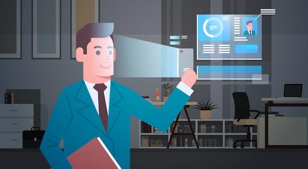 Sistema de identificação biométrico de digitalização scan homem de negócios cara moderno sistema de segurança de reconhecimento concep