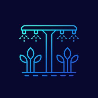 Sistema de irrigação, ícone de vetor de linha de rega de plantas