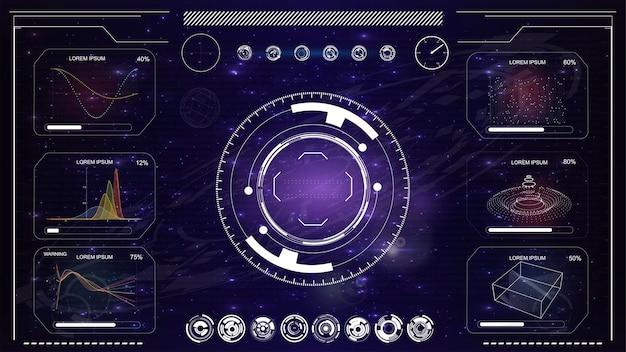 Sistema de mira moderno. crosshair de nave espacial futurista de ficção científica.