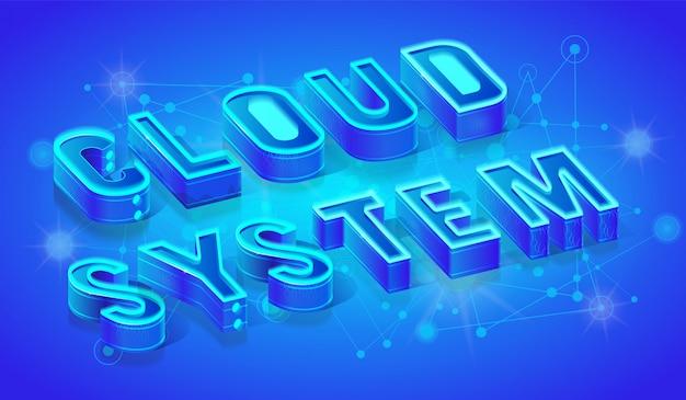 Sistema de nuvem 3d isométrico