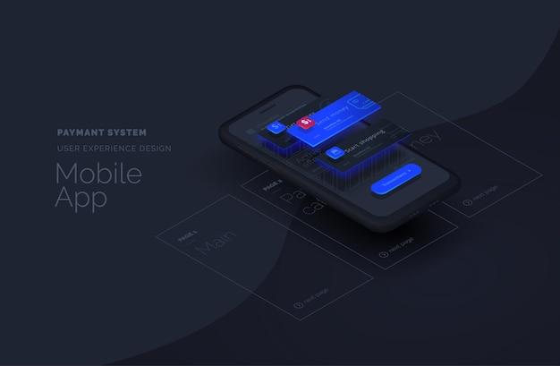 Sistema de pagamento para página da web de aplicativos móveis criada a partir de blocos separados