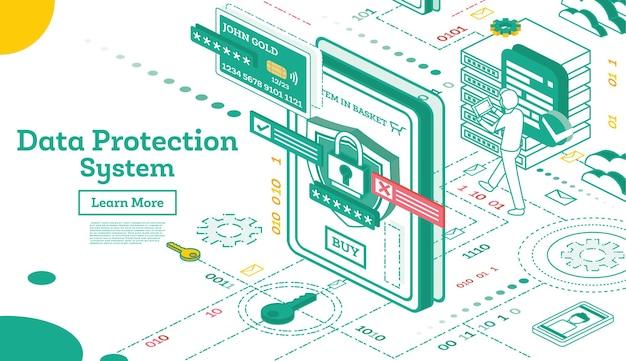 Sistema de proteção de dados isométrico. segurança cibernética e privacidade. criptografia de tráfego. vpn.