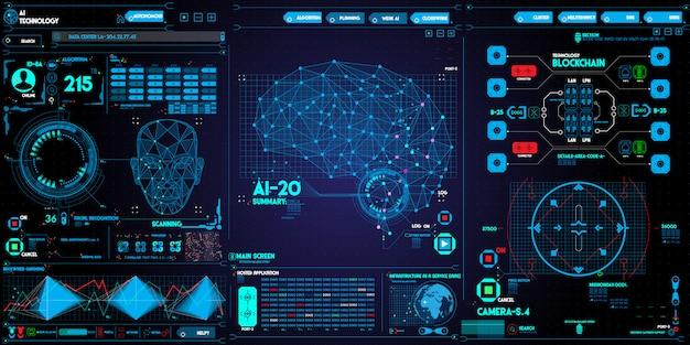 Sistema de reconhecimento de rosto com baixo polígono digitalização de rosto humano e interface de usuário no escuro