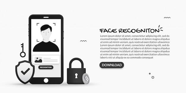 Sistema de reconhecimento de rosto, ilustrações de digitalização facial