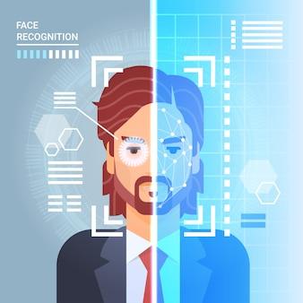Sistema de reconhecimento de rosto scanning retina de olho de homem de negócios moderno acesso de tecnologia de identificação