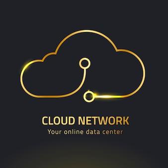 Sistema de rede digital com logotipo de nuvem de néon ouro