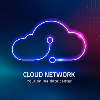 Sistema de rede digital com logotipo de nuvem neon rosa