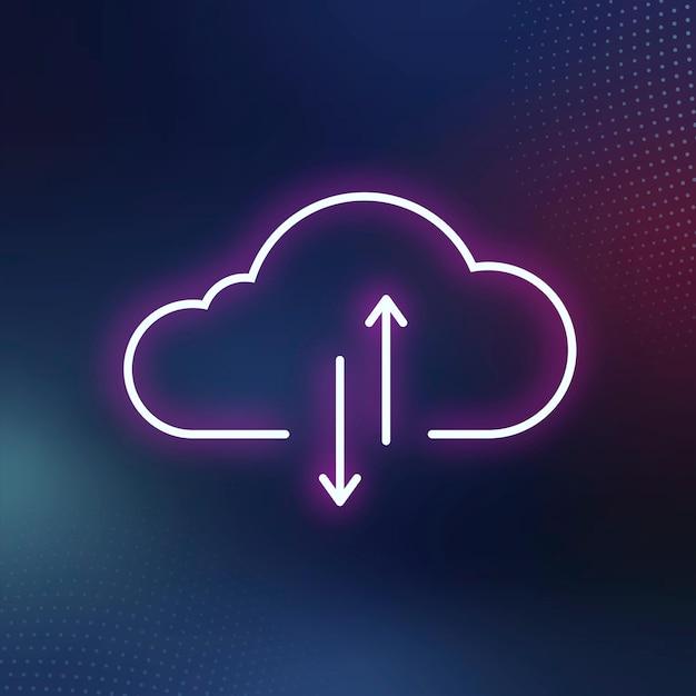 Sistema de rede digital de ícone de nuvem de néon rosa