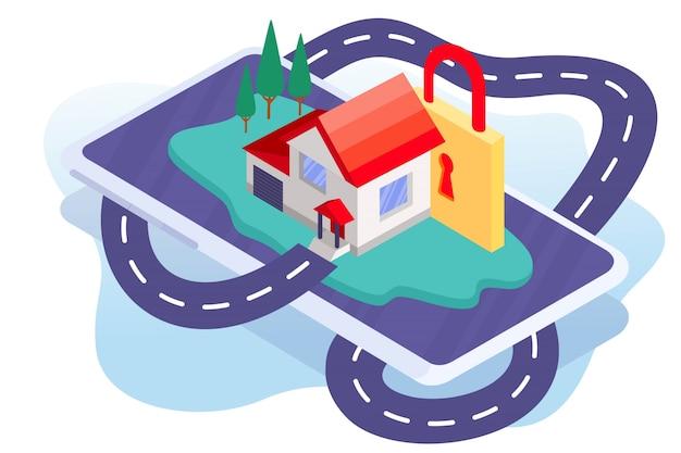 Sistema de segurança da ilustração de casa inteligente