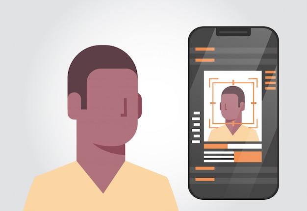 Sistema de segurança de telefone inteligente digitalização homem afro-americano usuário biométrica identificação conceito fac