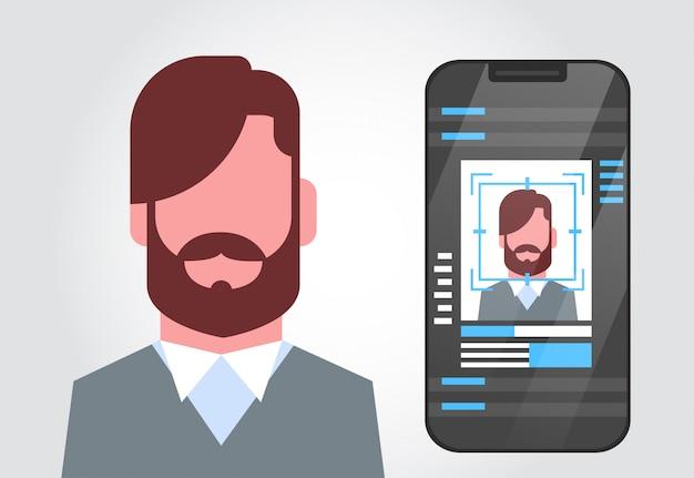 Sistema de segurança do telefone inteligente digitalização identificação de usuário masculino conceito biométrico reconhecimento de rosto