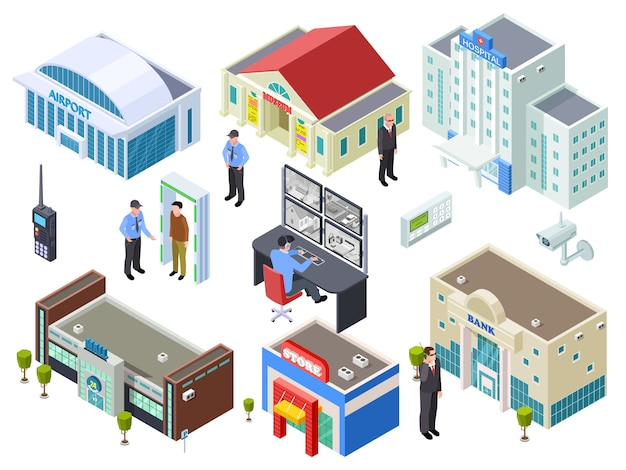 Sistema de segurança para vários edifícios públicos coleção isométrica vector